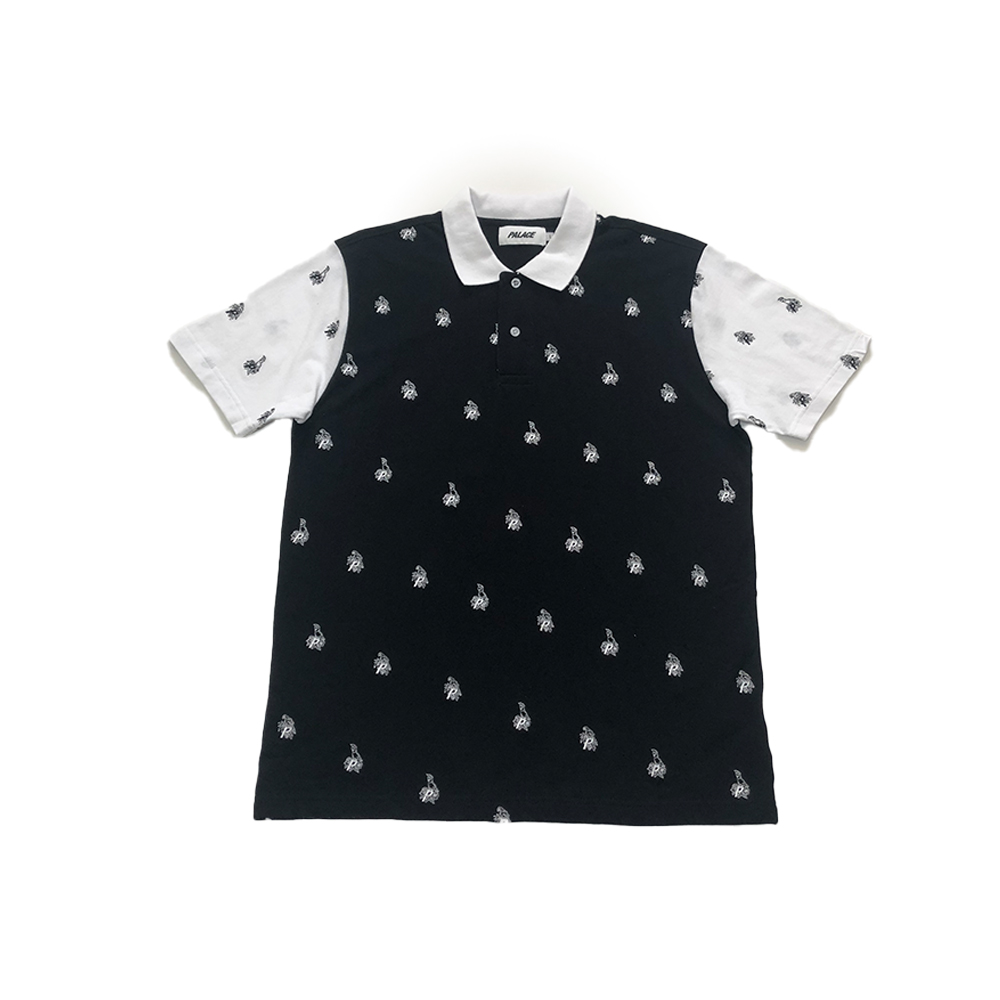 Polo_0001_palace parrot polo black large brand new straight