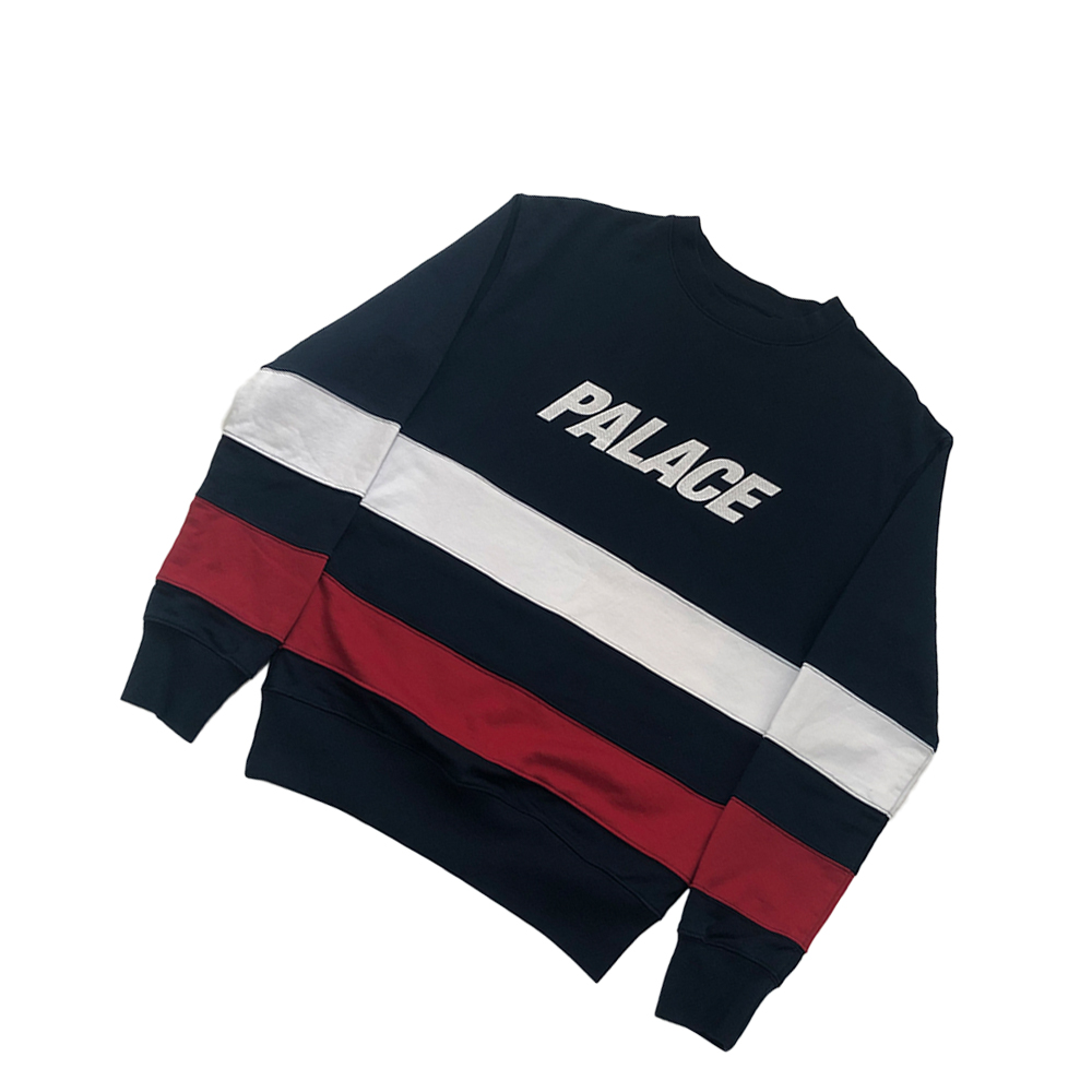 Striped crew_0000_palace striped crewneck navy blue small used straight copy