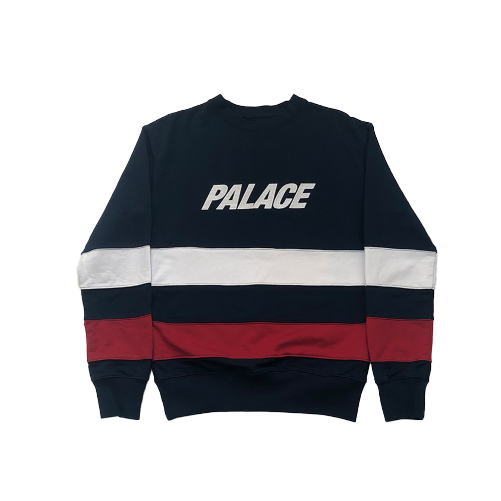 Striped crew_0001_palace striped crewneck navy blue small used straight