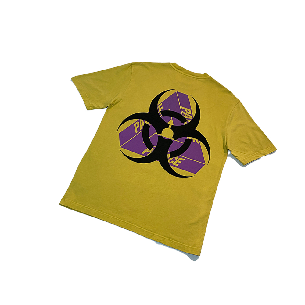 Bio_0001_palace bio hazard tee yellow large used back straight copy