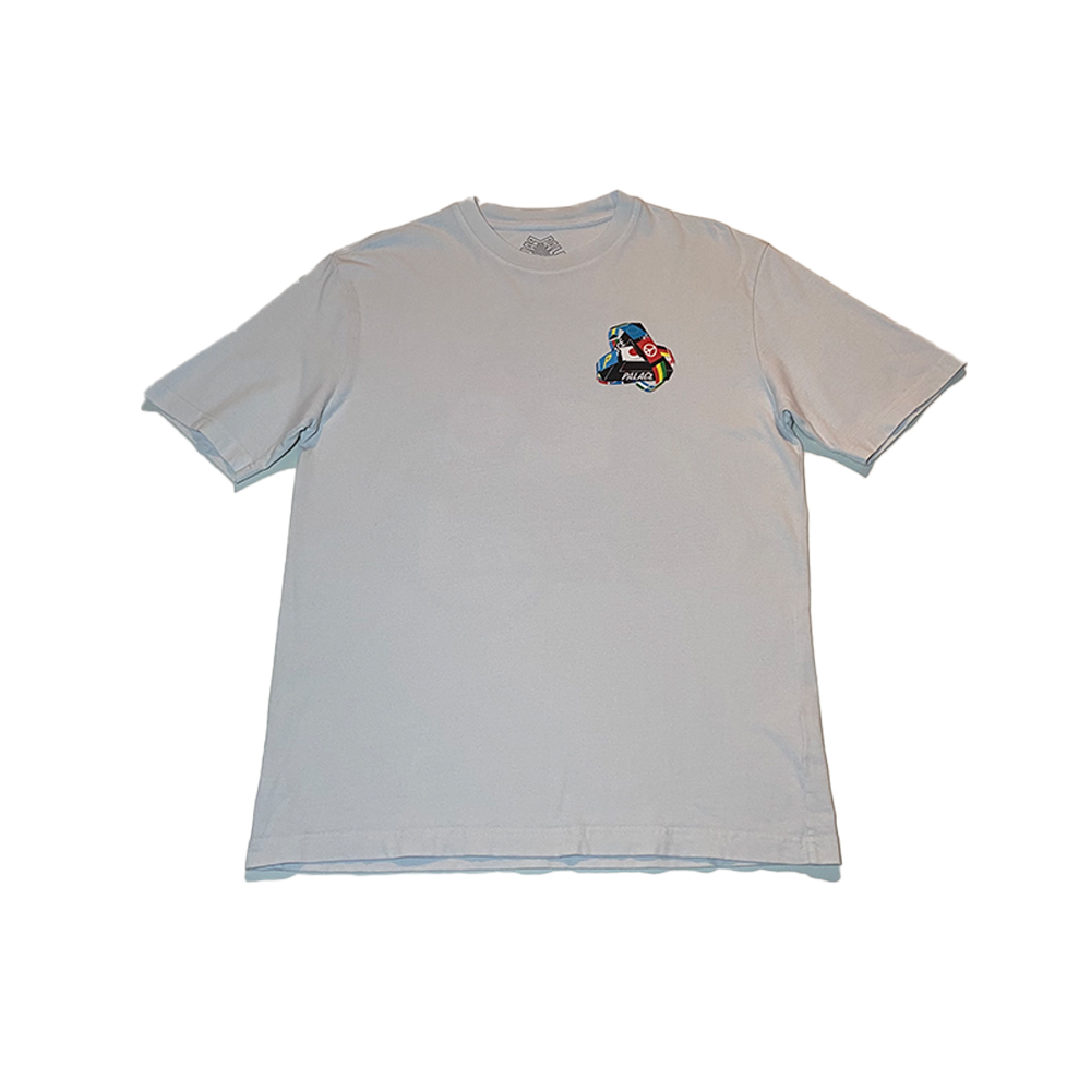 Frag Tee_0002_palace tri flag tee white large used front straight